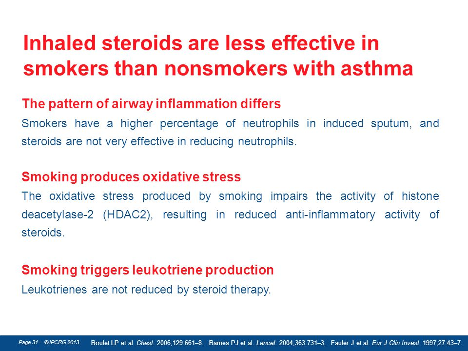 Inhaled steroids are less effective in smokers than nonsmokers with asthma