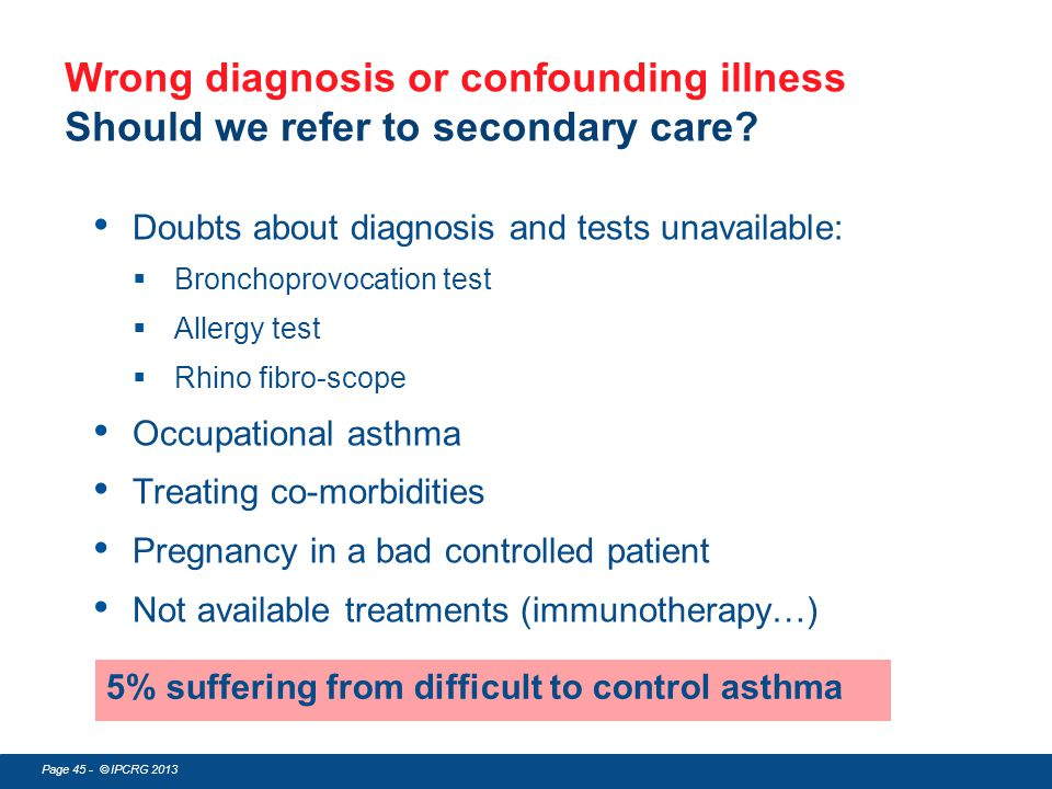 Wrong diagnosis or confounding illness Should we refer to secondary care