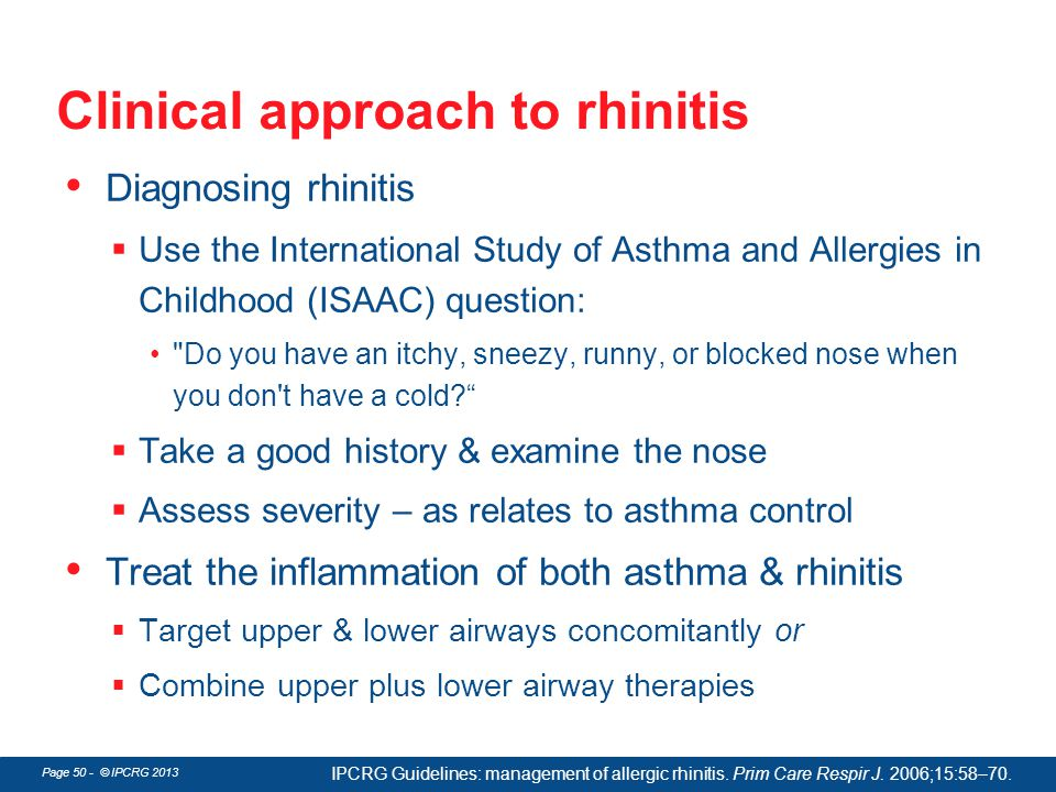 Clinical approach to rhinitis