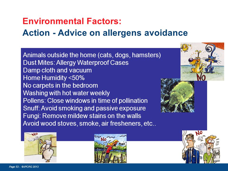 Environmental Factors: Action - Advice on allergens avoidance