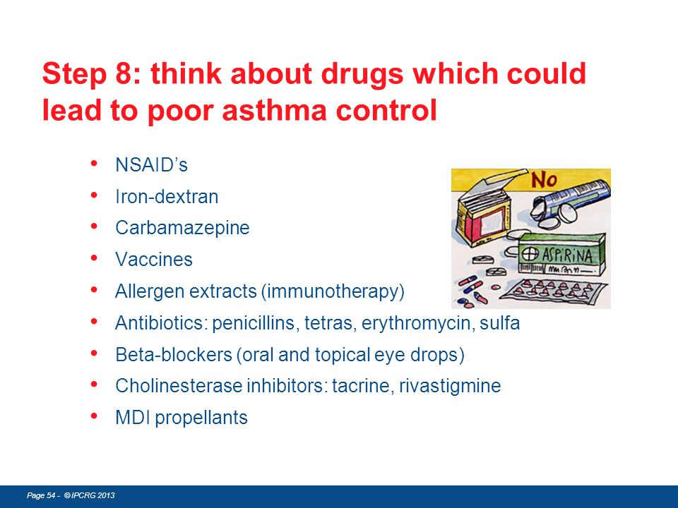 Step 8: think about drugs which could lead to poor asthma control