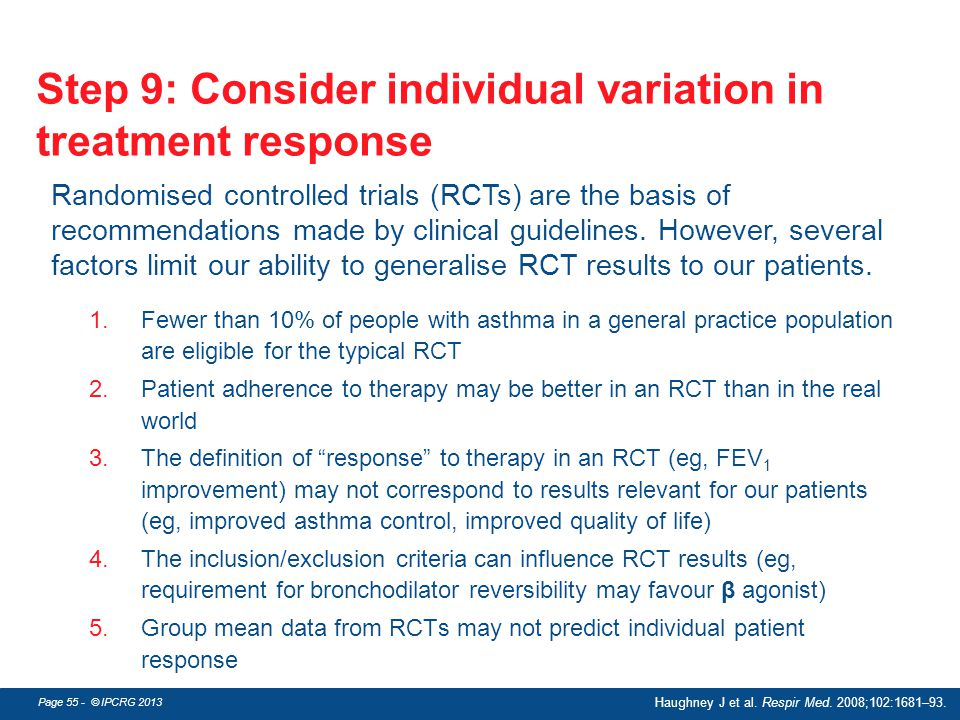 Step 9: Consider individual variation in treatment response
