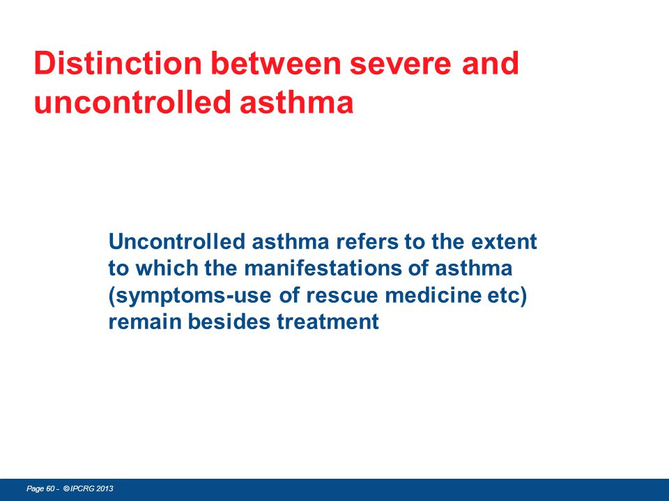 Distinction between severe and uncontrolled asthma