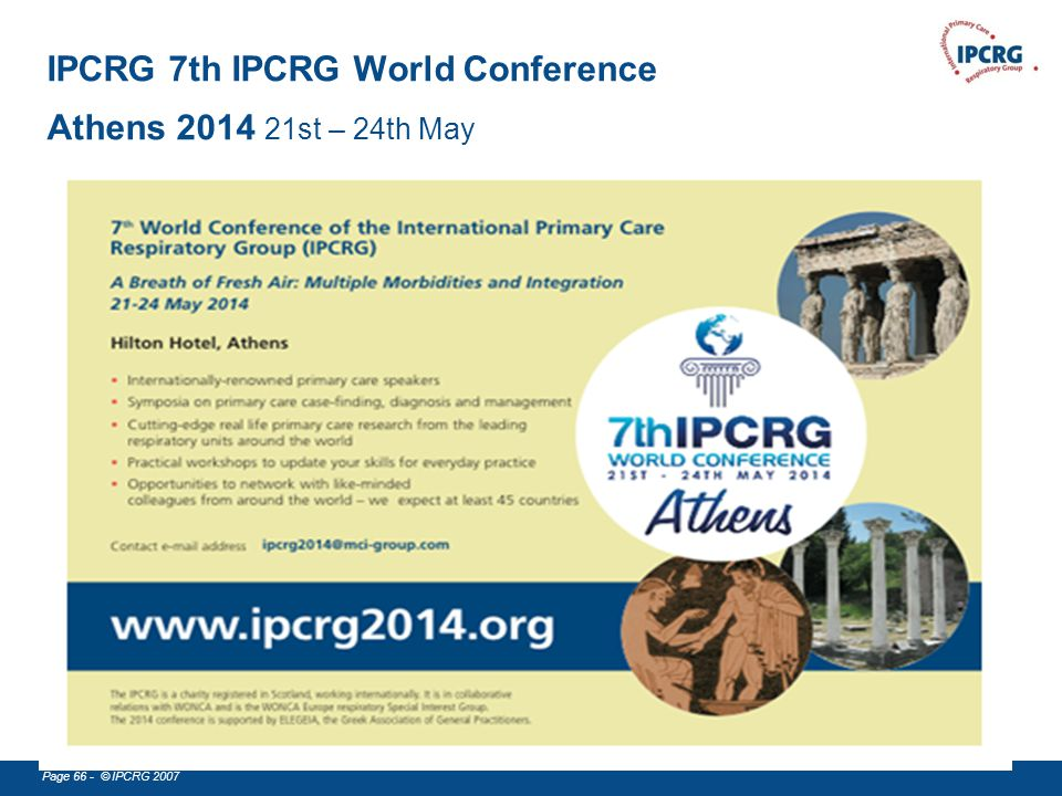IPCRG 7th IPCRG World Conference Athens 2014 21st – 24th May