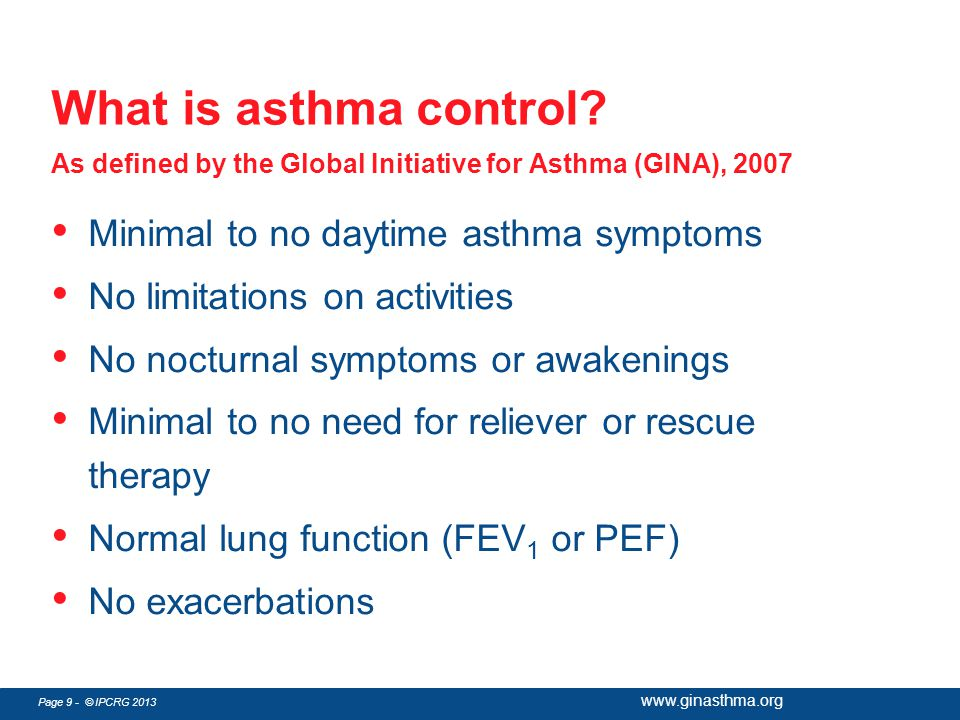 What is asthma control As defined by the Global Initiative for Asthma (GINA), 2007