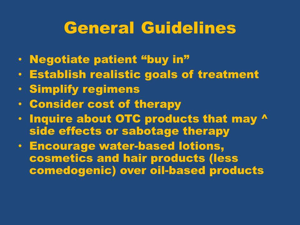 General Guidelines Negotiate patient buy in