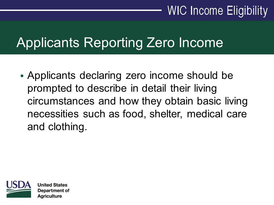 Applicants Reporting Zero Income