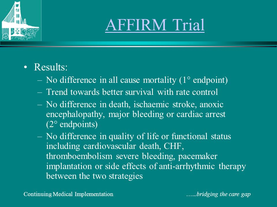 AFFIRM Trial Results: No difference in all cause mortality (1° endpoint) Trend towards better survival with rate control.