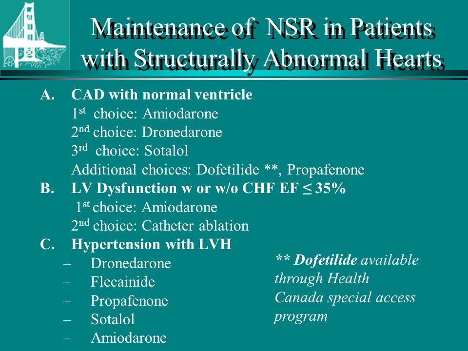 Maintenance of NSR in Patients with Structurally Abnormal Hearts