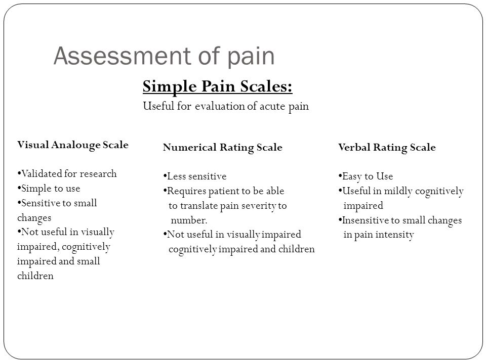 Assessment of pain Simple Pain Scales: