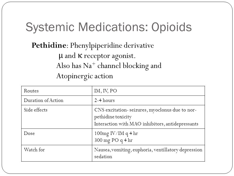 Systemic Medications: Opioids
