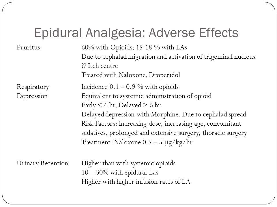 Epidural Analgesia: Adverse Effects