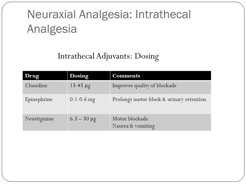 Neuraxial Analgesia: Intrathecal Analgesia