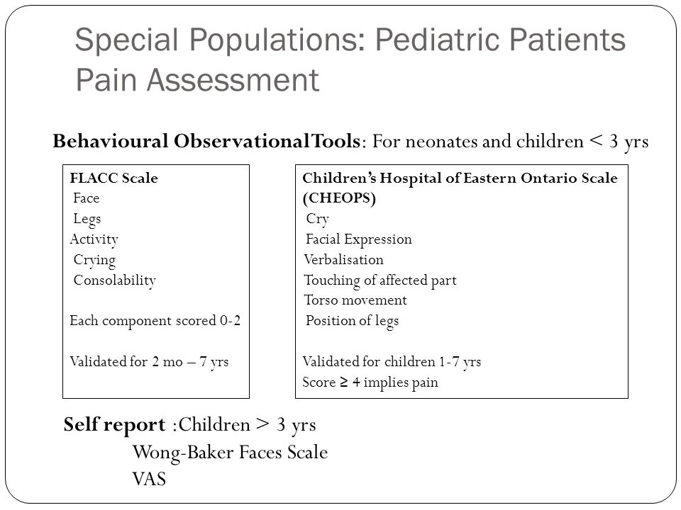 Special Populations: Pediatric Patients Pain Assessment