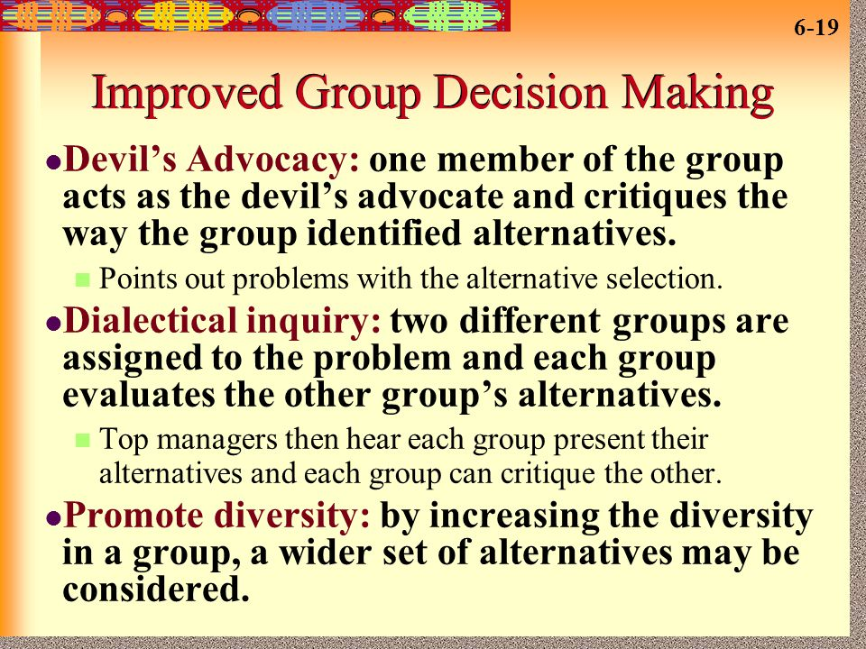 Improved Group Decision Making