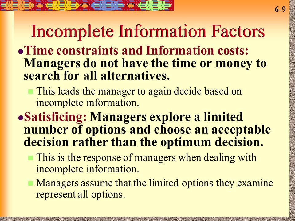 Incomplete Information Factors