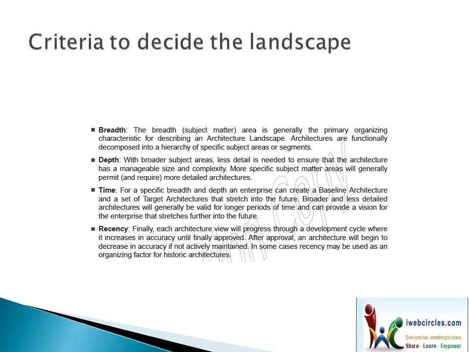 Criteria to decide the landscape