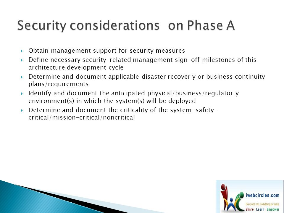 Security considerations on Phase A