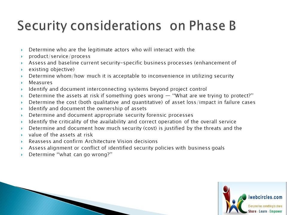 Security considerations on Phase B