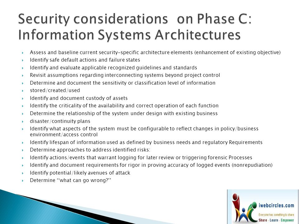 Security considerations on Phase C: Information Systems Architectures