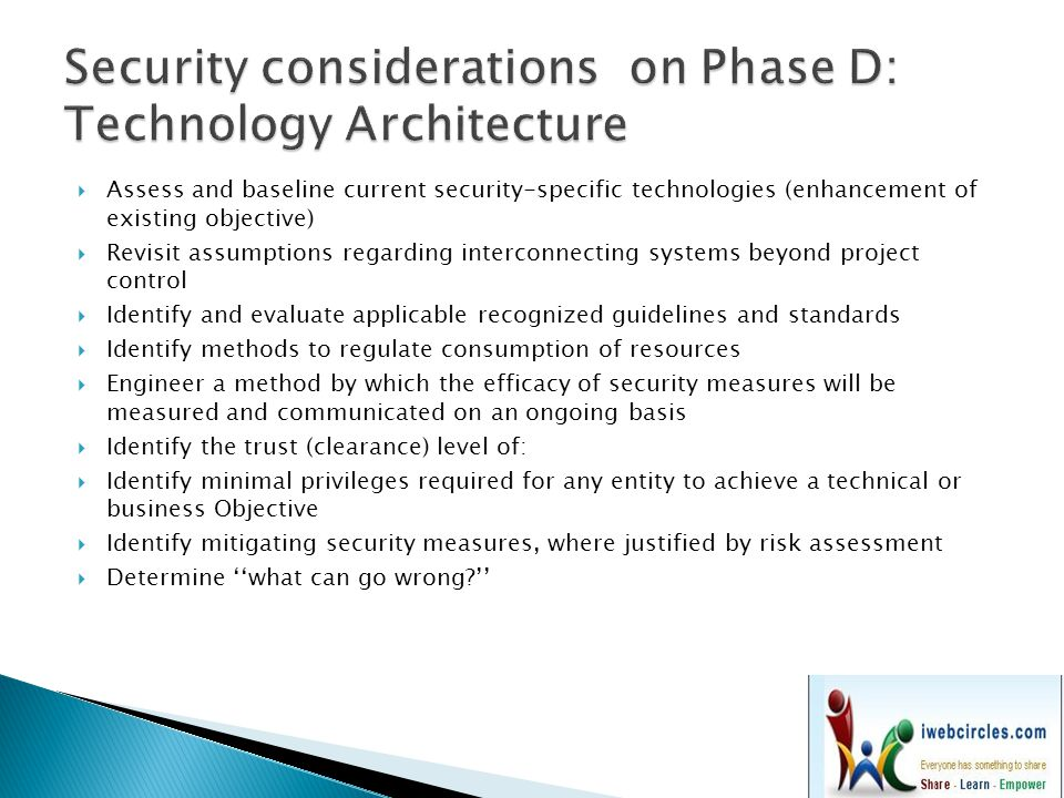 Security considerations on Phase D: Technology Architecture