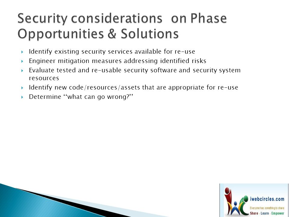 Security considerations on Phase Opportunities & Solutions