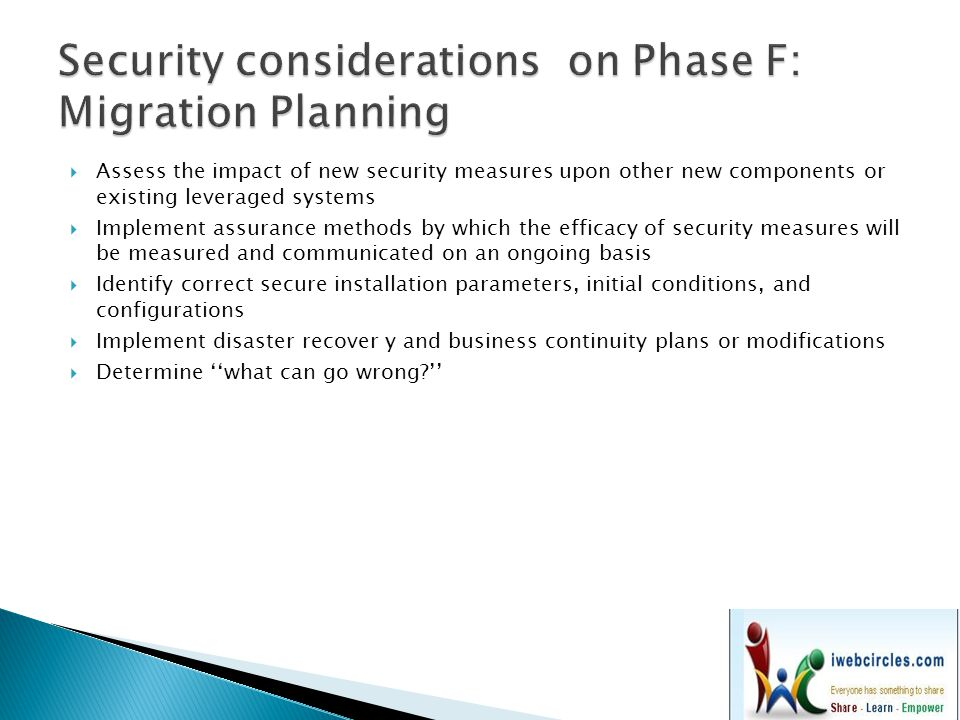 Security considerations on Phase F: Migration Planning
