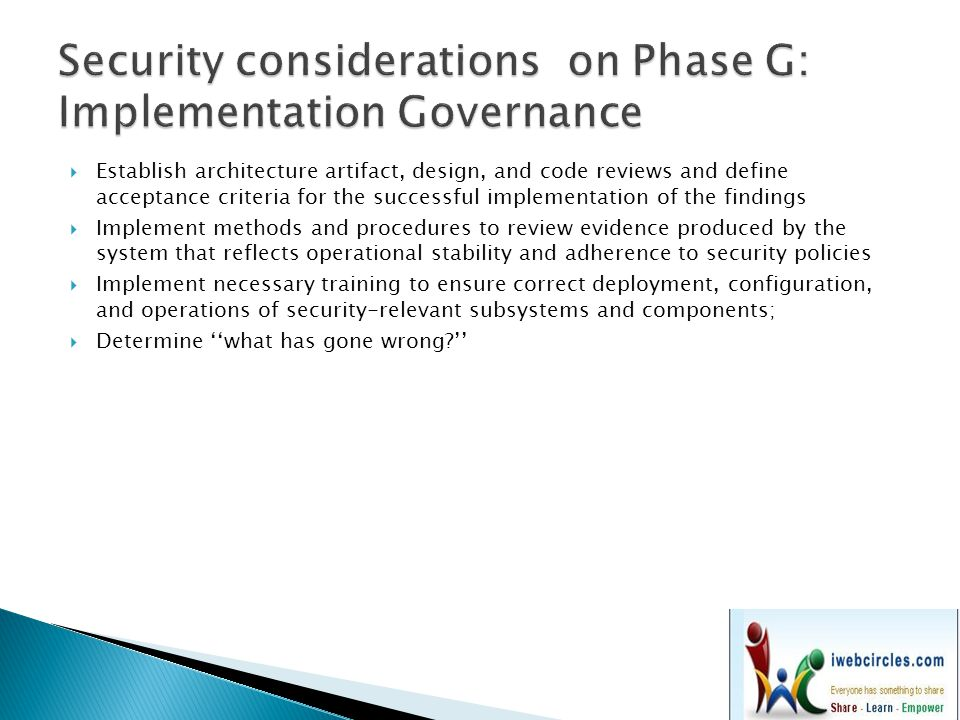Security considerations on Phase G: Implementation Governance