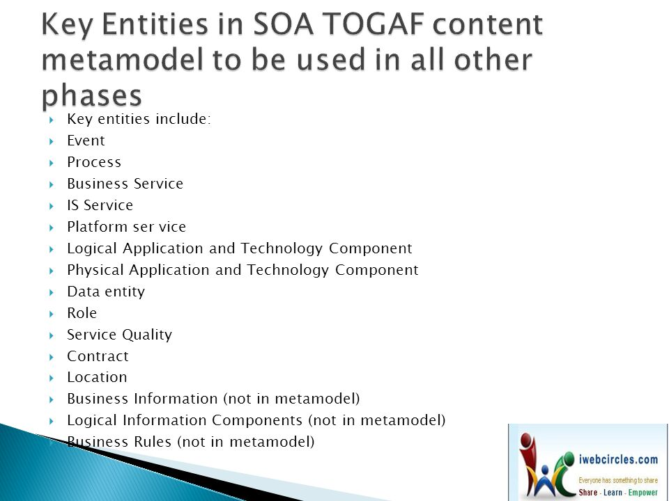 Key Entities in SOA TOGAF content metamodel to be used in all other phases