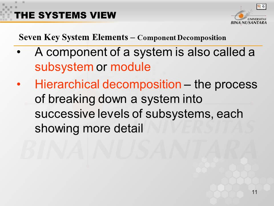 A component of a system is also called a subsystem or module