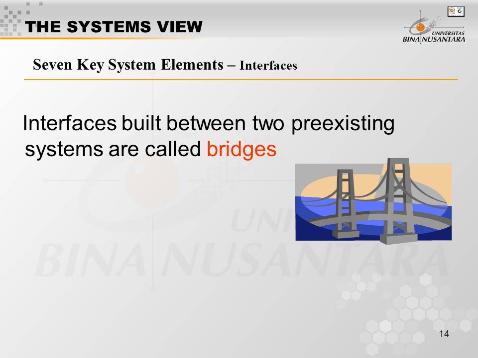Interfaces built between two preexisting systems are called bridges