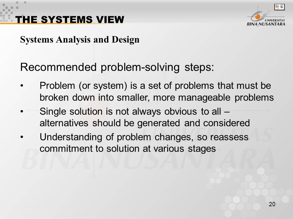 Recommended problem-solving steps: