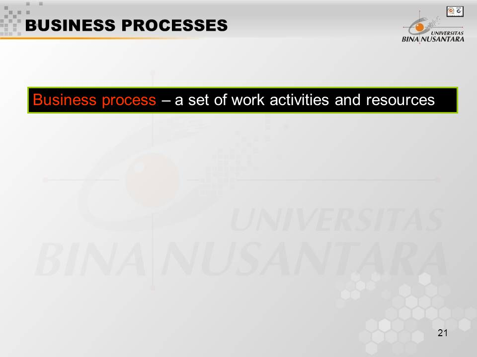 BUSINESS PROCESSES Business process – a set of work activities and resources