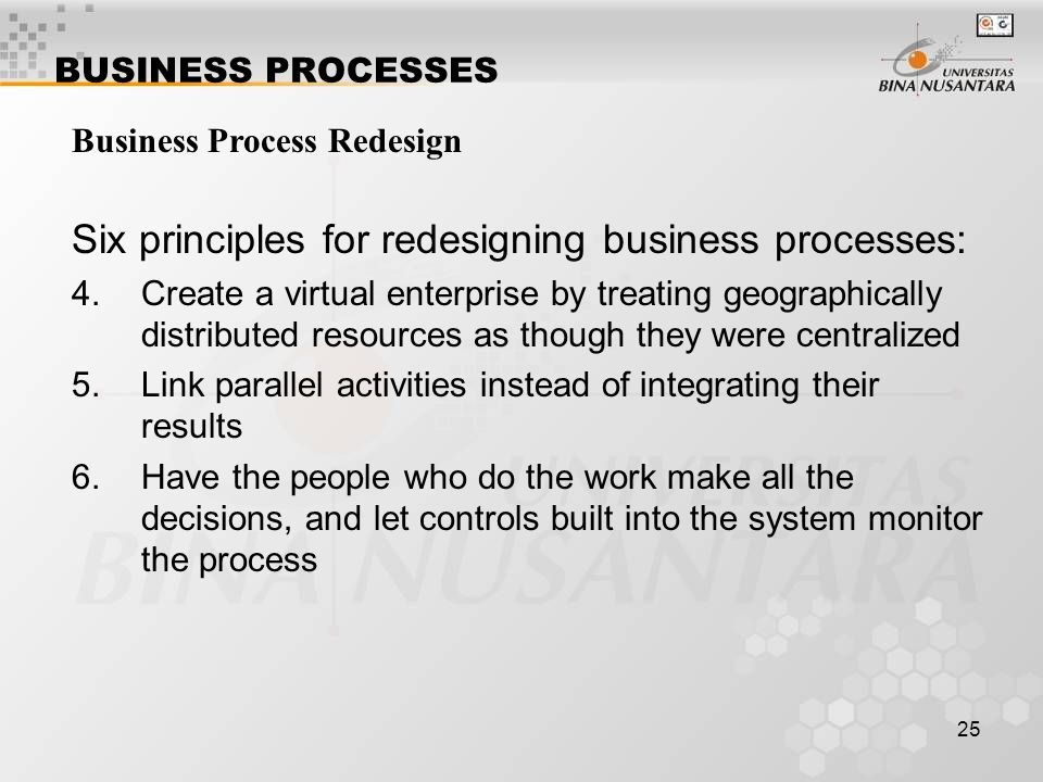 Six principles for redesigning business processes: