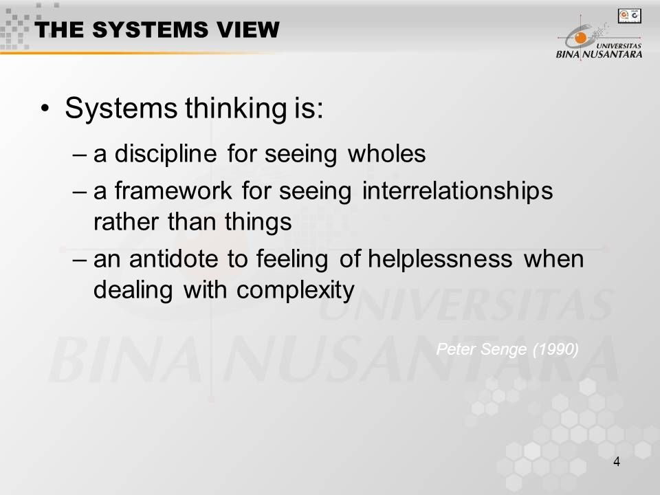 Systems thinking is: a discipline for seeing wholes
