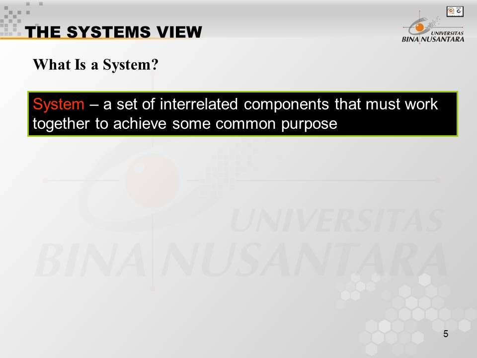 THE SYSTEMS VIEW What Is a System.