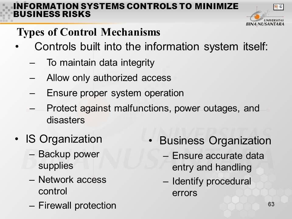 INFORMATION SYSTEMS CONTROLS TO MINIMIZE BUSINESS RISKS