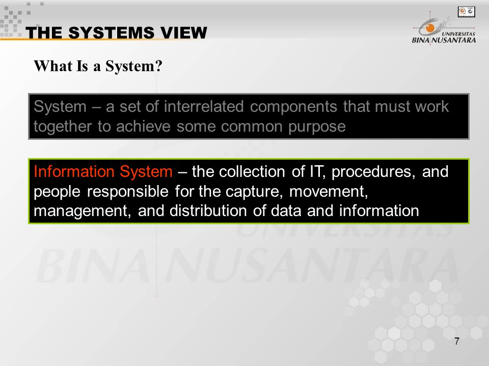 THE SYSTEMS VIEW What Is a System System – a set of interrelated components that must work together to achieve some common purpose.