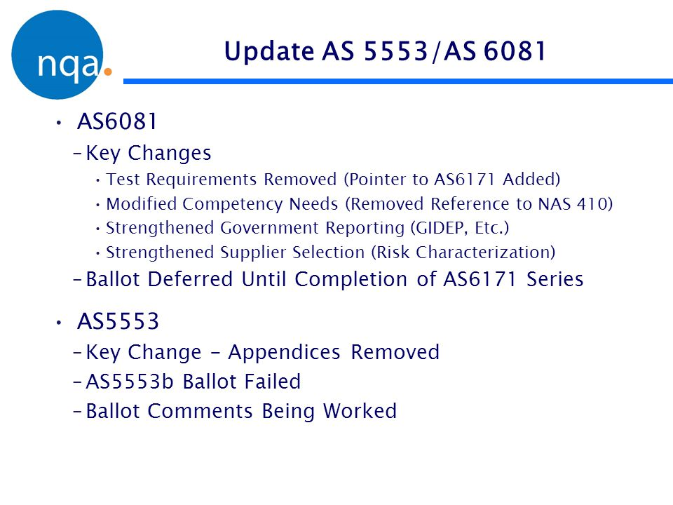 Update AS 5553/AS 6081 AS6081 AS5553 Key Changes