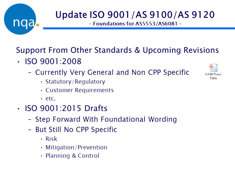 Update ISO 9001/AS 9100/AS 9120 - Foundations for AS5553/AS6081 -