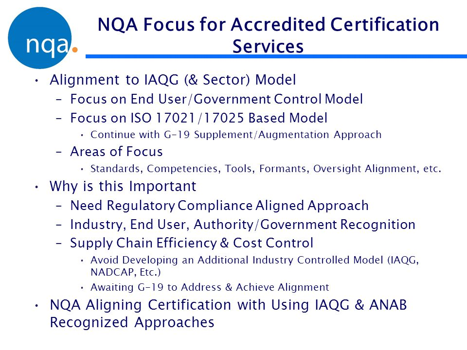 NQA Focus for Accredited Certification Services
