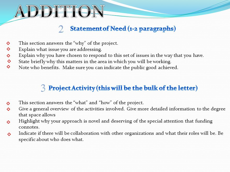 ADDITION Statement of Need (1-2 paragraphs)