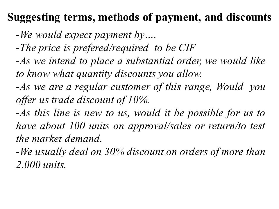 Suggesting terms, methods of payment, and discounts