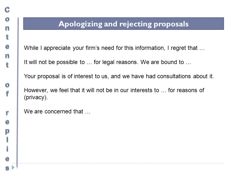 Apologizing and rejecting proposals