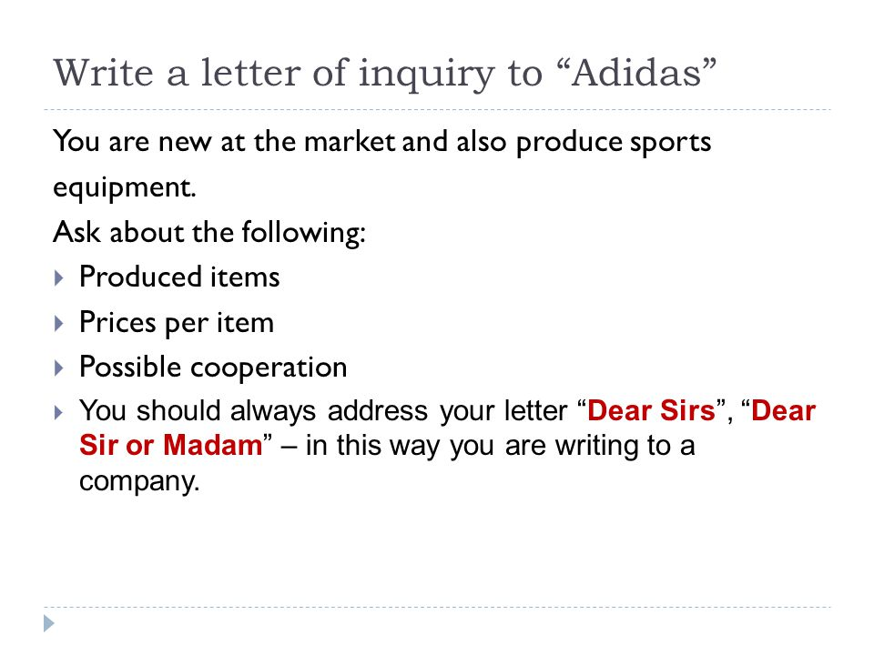 Write a letter of inquiry to Adidas