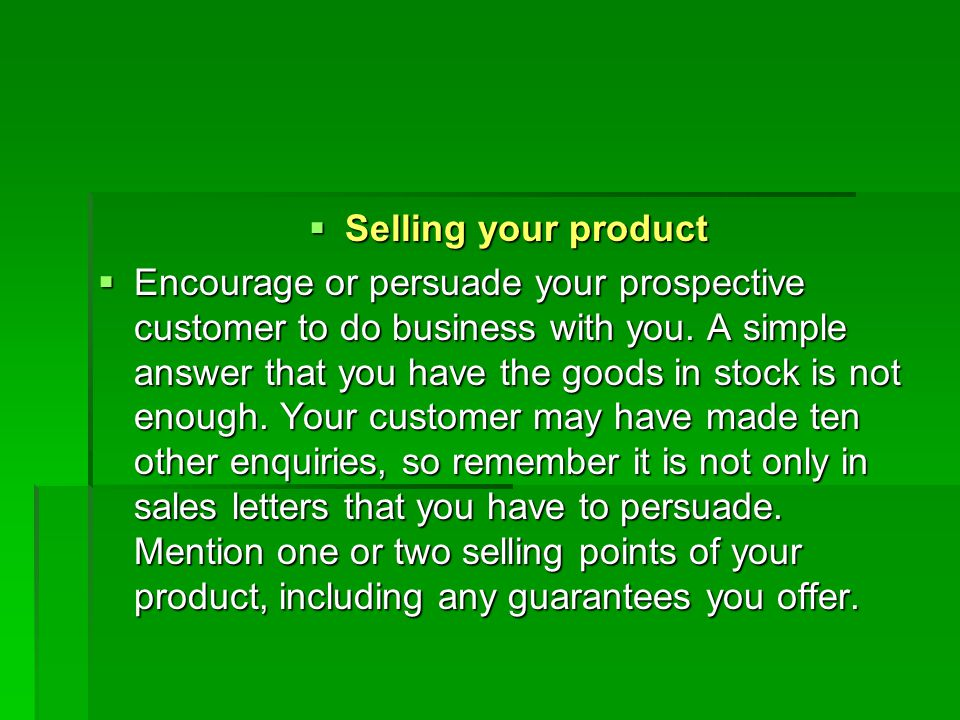 Selling your product