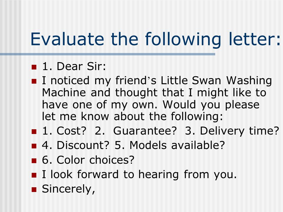 Evaluate the following letter: