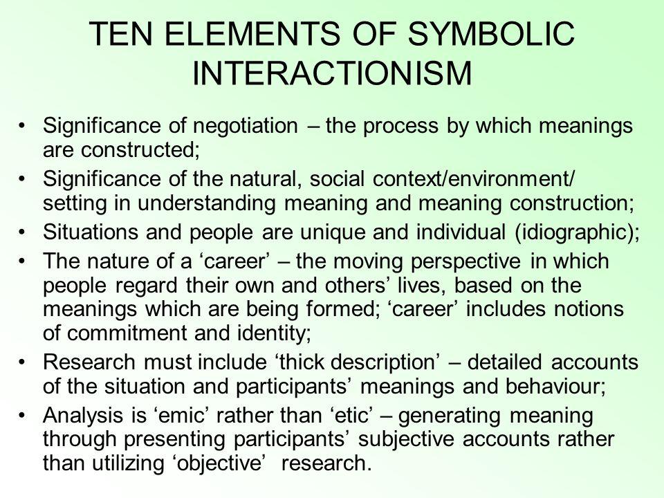 TEN ELEMENTS OF SYMBOLIC INTERACTIONISM