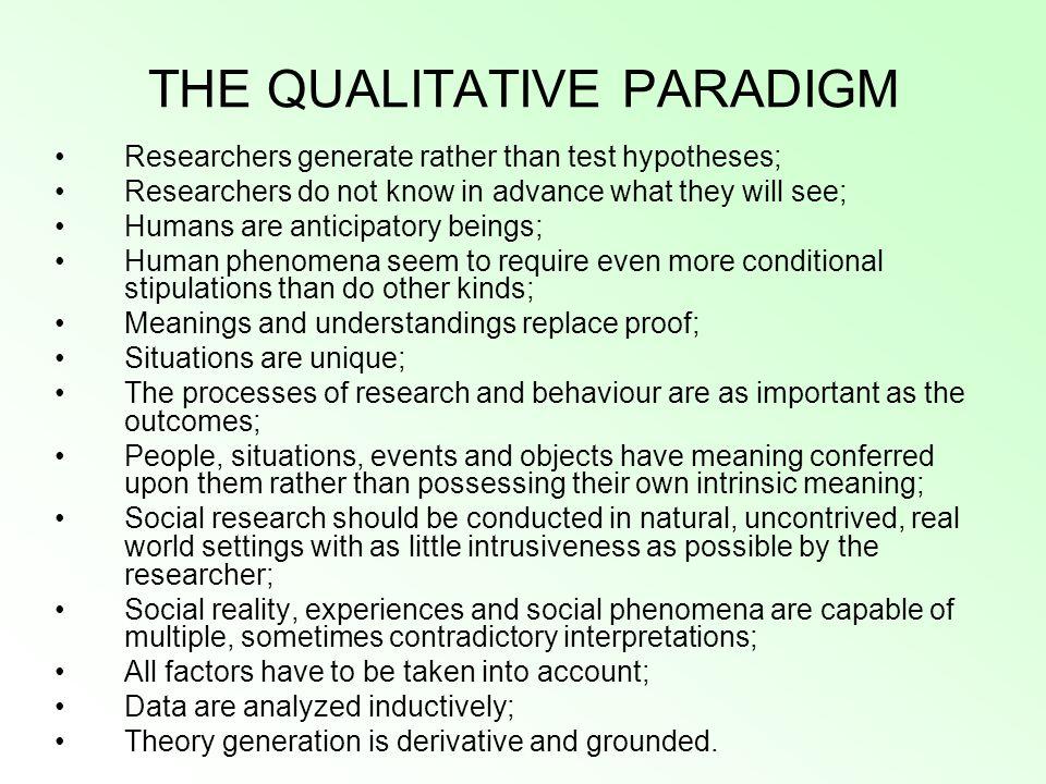 THE QUALITATIVE PARADIGM