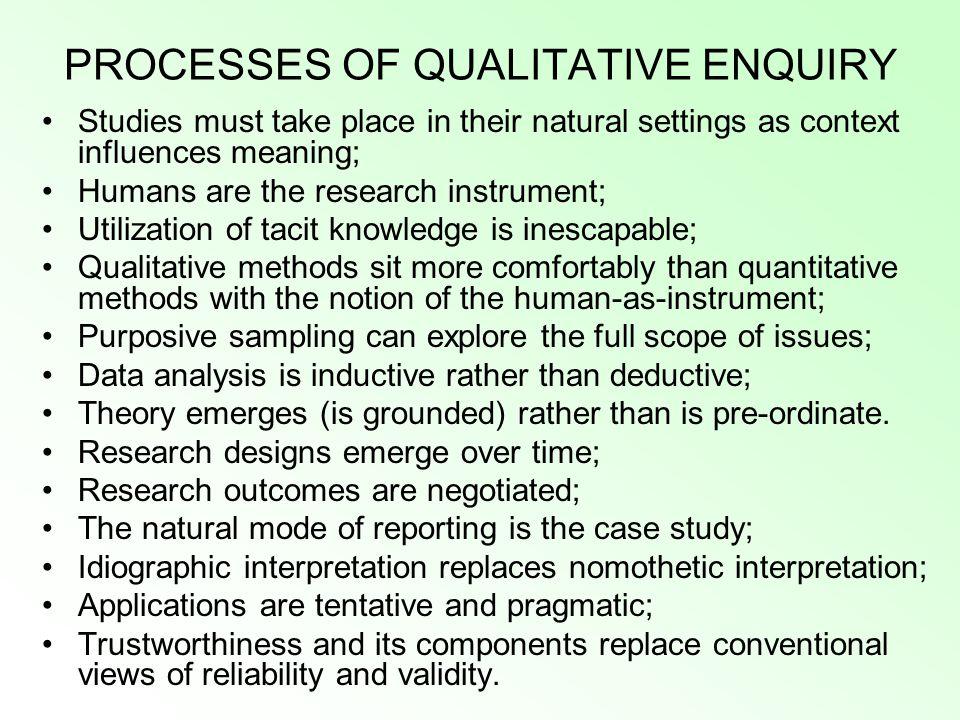 PROCESSES OF QUALITATIVE ENQUIRY